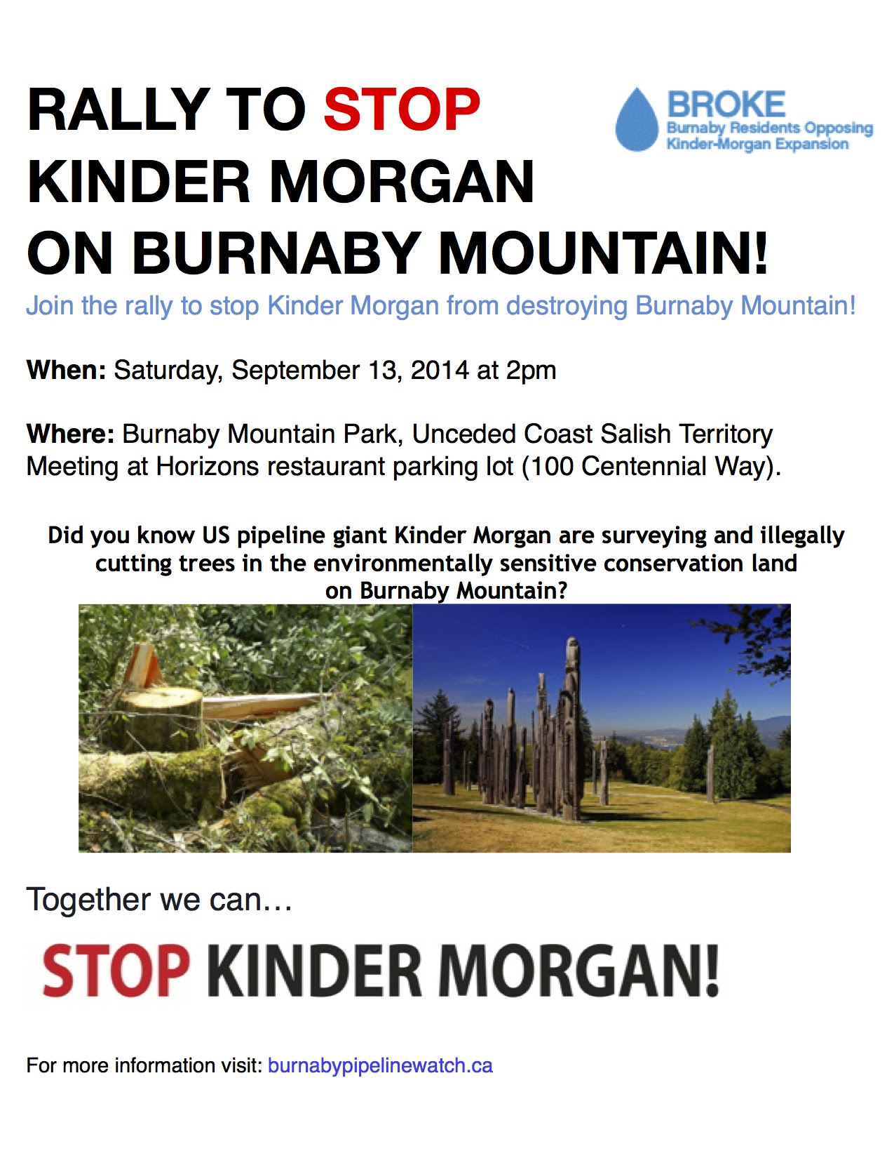 RALLY TO STOP KINDER MORGAN ON BURNABY MOUNTAIN!