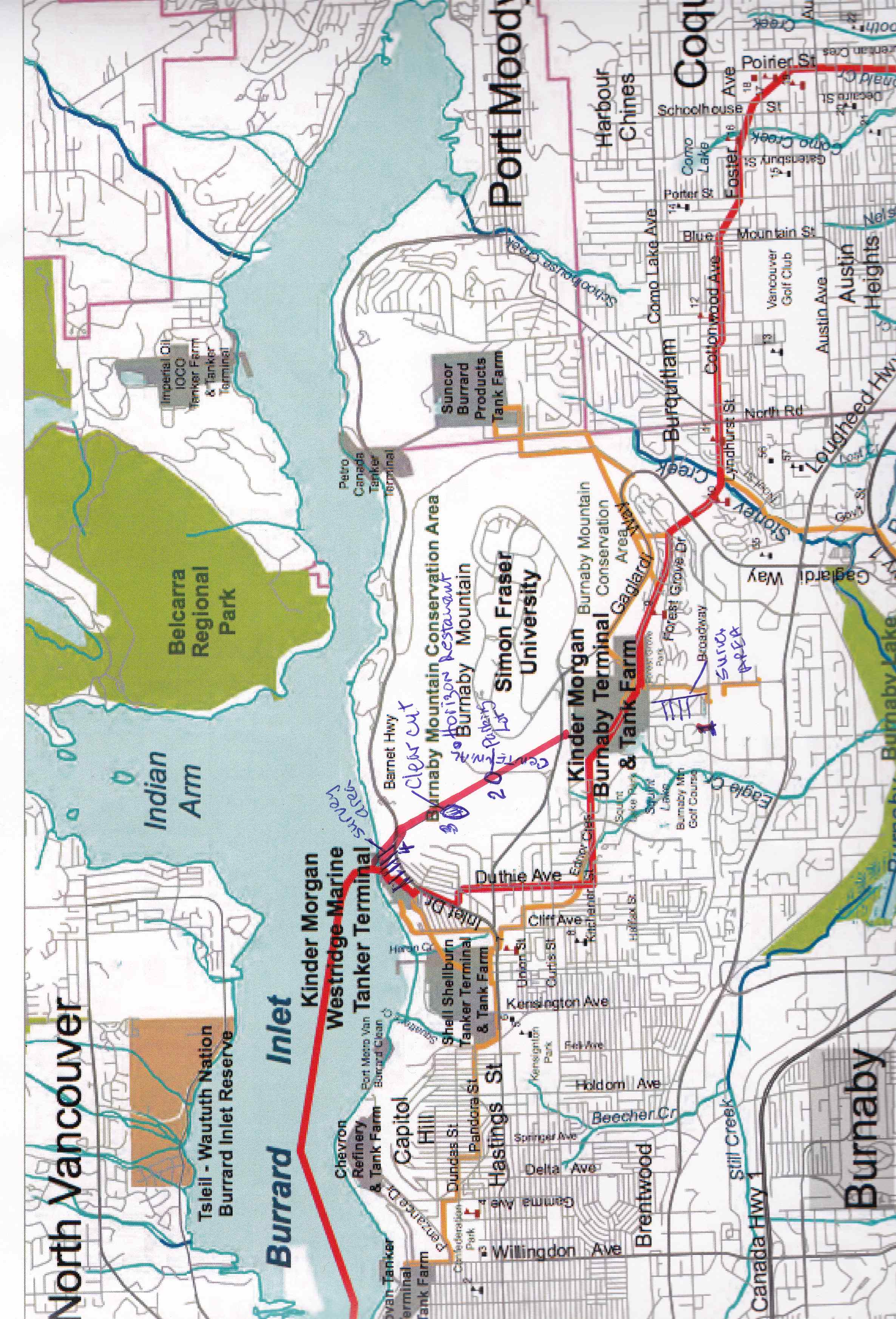 Map of Burnaby Mountain Conservation area