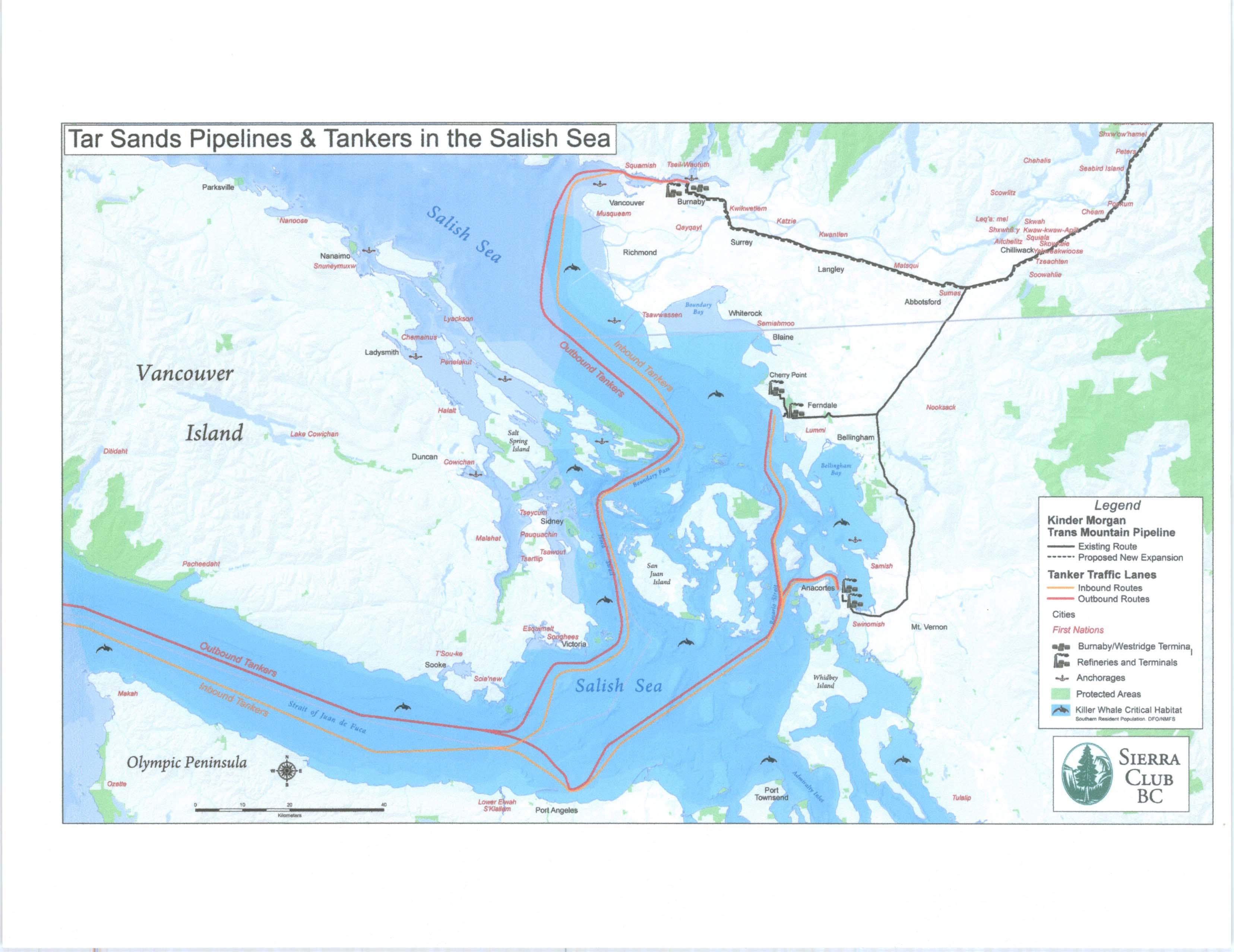 Oil Tanker Route through the Salish Sea